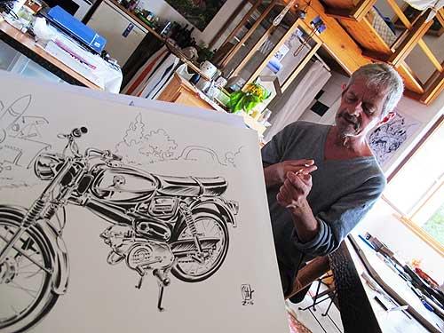 Graphic Novelist Chris Scheuer hat die Themen Moped und Populärkultur aufgegriffen
